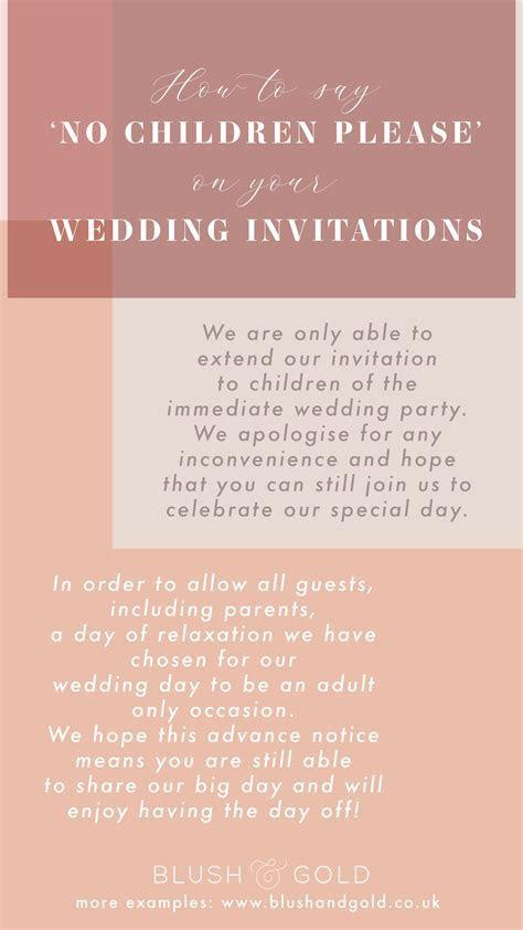 How to say 'no children' please on tour wedding invites