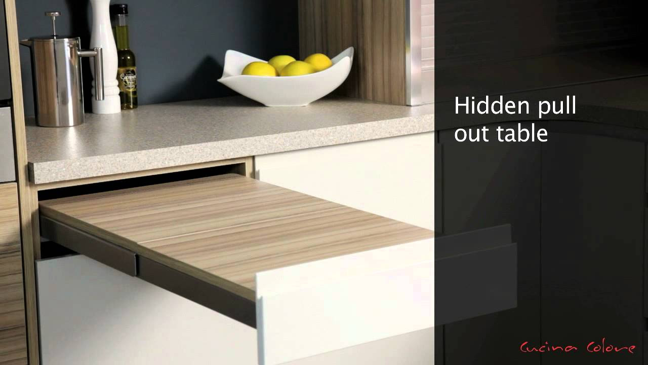 Mereway Kitchens Segreto Pull Out Table - YouTube