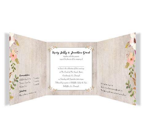 Rustic Horizon Tri fold wedding invitations   Loving