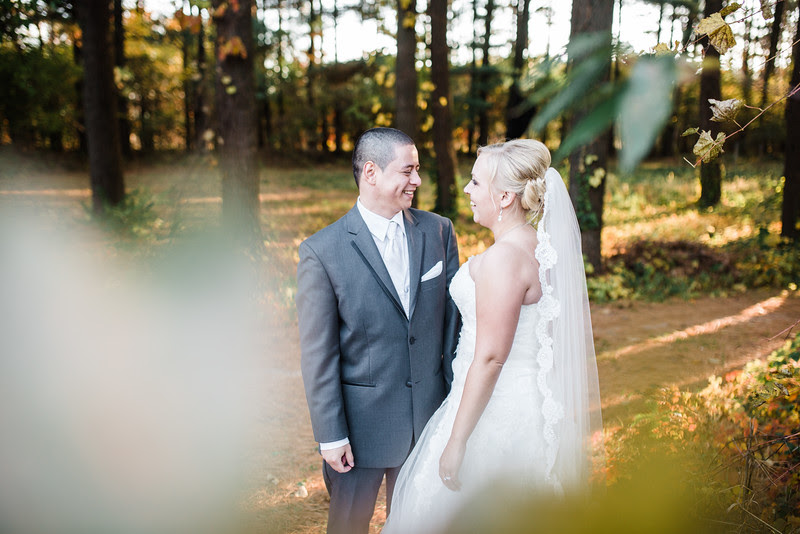 Photos with the Bride and Groom in the pine tree forest and the log cabin in the back of the woods. We also went to the grassy path with big oak trees in the background.