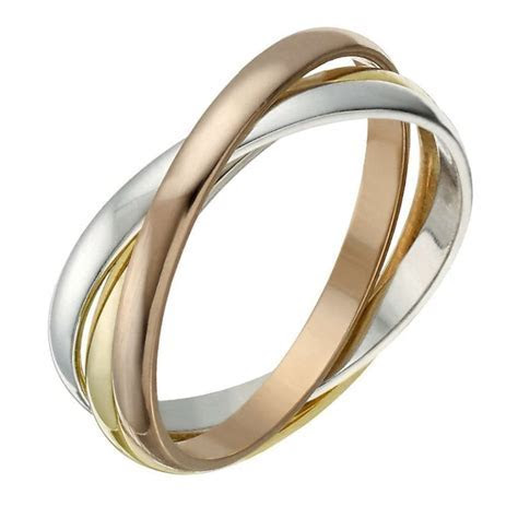 9ct Yellow,White and Rose Gold Russian Wedding Band