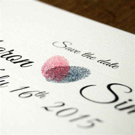 fingerprint heart wedding invitation and save the date by