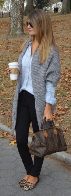 Early spring....leggings, leopard, grey cardigan, chambray shirt