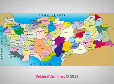 Vektörel çizim şehir Isimleriyle Türkiye Haritası