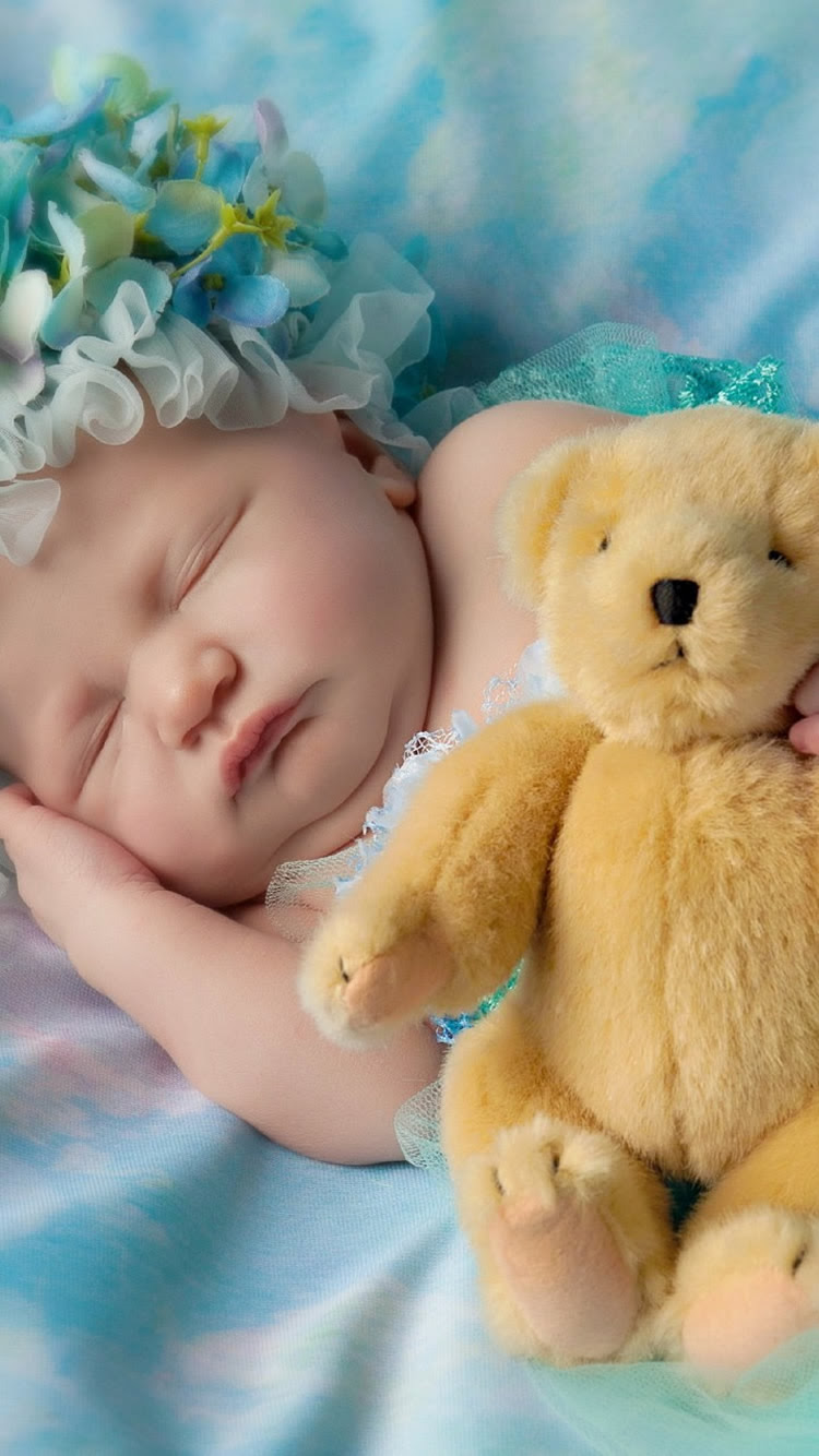 かわいい赤ちゃんの寝るテディベアiphone6壁紙 Iphoneチーズ