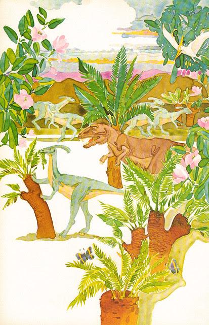 Parasaurolophus and Tyrannosaurus