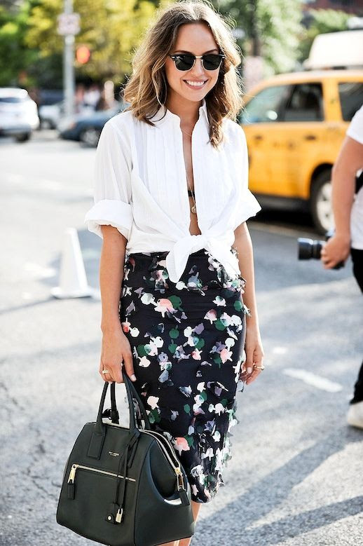 Le Fashion Blog Blogger Style Nyfw Vacation Look Clubmaster Sunglasses Layered Necklaces White Button Down Shirt Tied In A Knot Floral High Waisted Skirt Via Popsugar