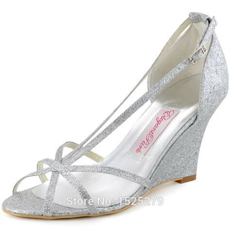 WP1421 Silver Women Bride Prom Party Wedge Heels Sandals