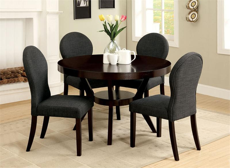 Dark brown coated wooden round table four microfiber upholstered chairs