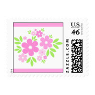 Pink flowers - Postage stamp
