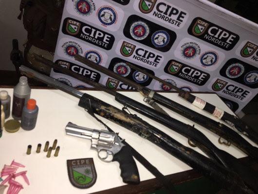 Polícia apreendeu cinco armas durante a ação | Foto: Divulgação/ PM