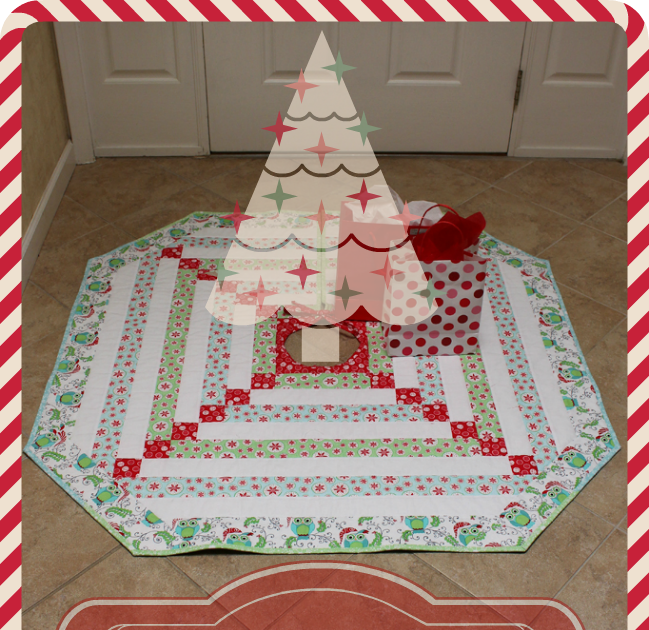 Aqua Christmas Tree Skirt: Fort Worth Fabric Studio: Frosty Cabin Tree Skirt Tutorial