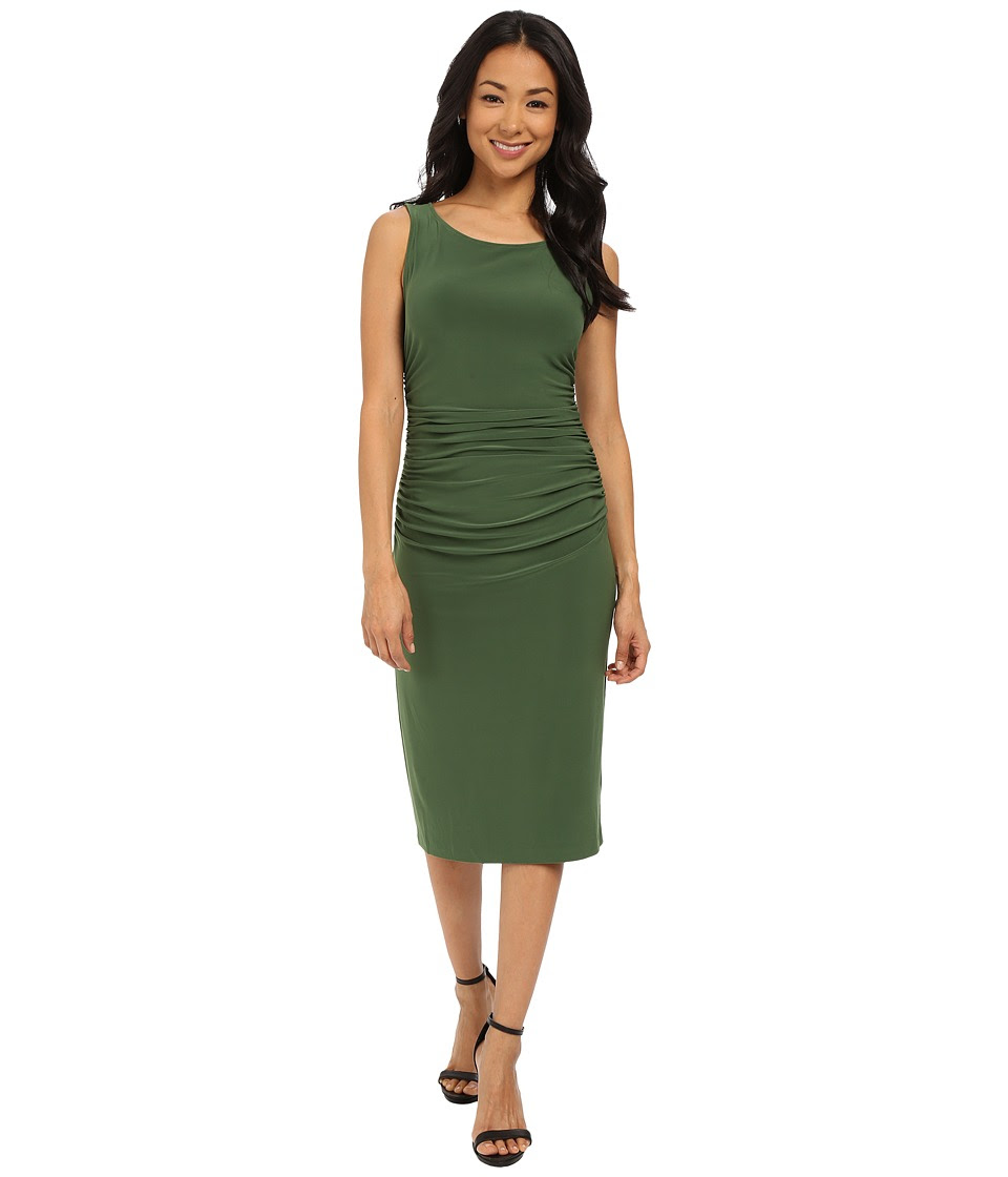KAMALIKULTURE by Norma Kamali - Shirred Waist Dress Below Knee (Olive) Women's Dress