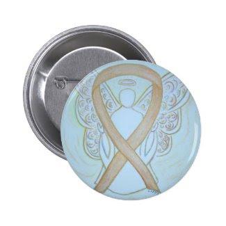 Gold Awareness Ribbon Angel Custom Art Buttons
