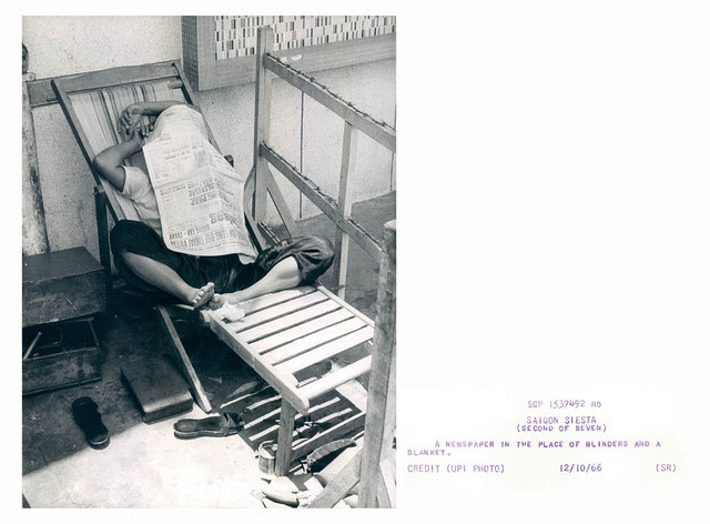 1966 Saigon Siesta Newspaper in Place of Blinders & Blanket Chair