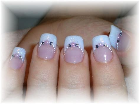 Endearing Wedding Nail Art Design Idea With Pale Blue And