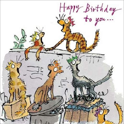 Cats Happy Birthday Quentin Blake Greeting Card   Cards