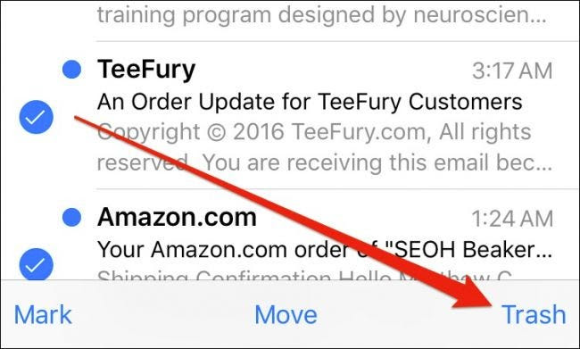 trash emails from iphone