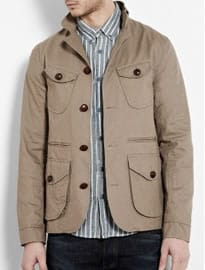 Oliver Spencer Dark Stone Cotton Twill Military Jacket