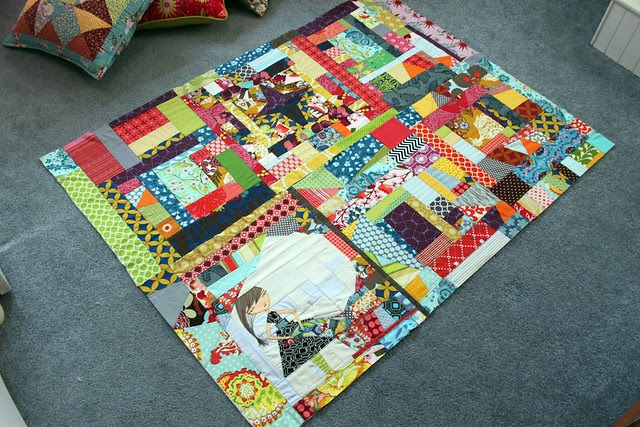 scrappy quilt progress -- 6 blocks finished