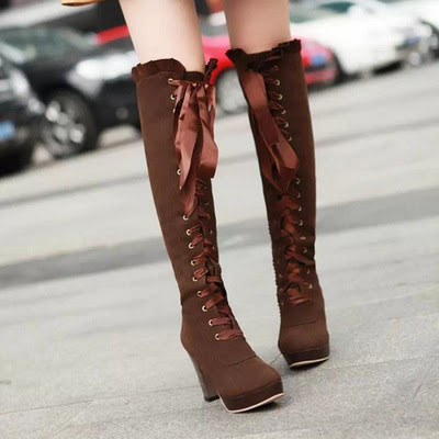 Women fashion sexy bow lace-up knee high Heeled Boots