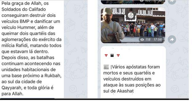 Exemplos de postagens em português em grupo ligado ao EI