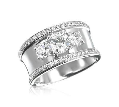 Wide Band 3 Stone Ring with Pave Trim
