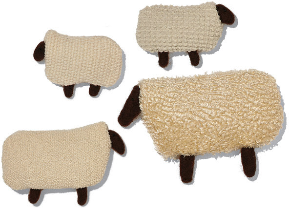 Sheep upholstered in (clockwise from top left): Larsen Aran fabric, $258 per yard; larsentextiles.com. Pollack Wool Loops fabric in pearl, price on request; pollackassociates.com. Larsen Shearling fabric, $154 per yard. Knoll Luxe North Island upholstery fabric by Dorothy Cosonas, price on request; (646) 783-1930.