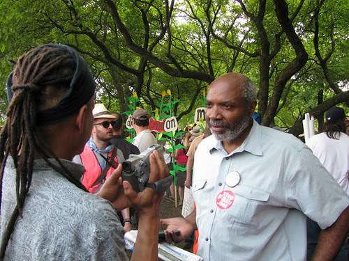 Abayomi Azikiwe, editor of the Pan-African News Wire, being interviewed after speaking at the Anti-NATO rally held in Grant Park in downtown Chicago on May 20, 2012. Azikiwe spoke on the need for international solidarity. (Photo: Alan Pollock) by Pan-African News Wire File Photos
