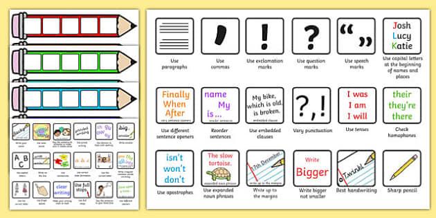 Editable Writing Target Cards Pencils - writing targets, writing