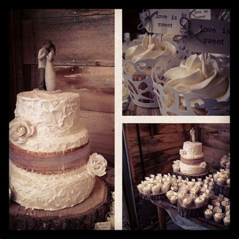 Rustic Wedding Cake Adorned With Burlap Made From Fondant