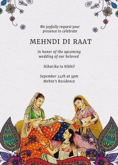 Mehndi Di Raat Invitation   Invites