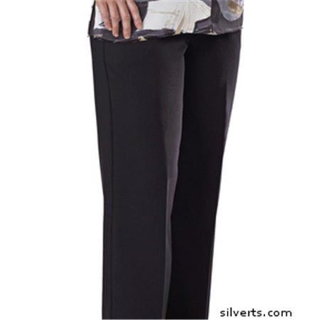 Silverts 130910406 Womens Elastic Waist Pants 2 Pockets - Ladies Pull On Pants - 42, Black