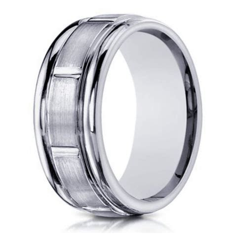 Men's designer white gold 10K wedding ring   6mm width