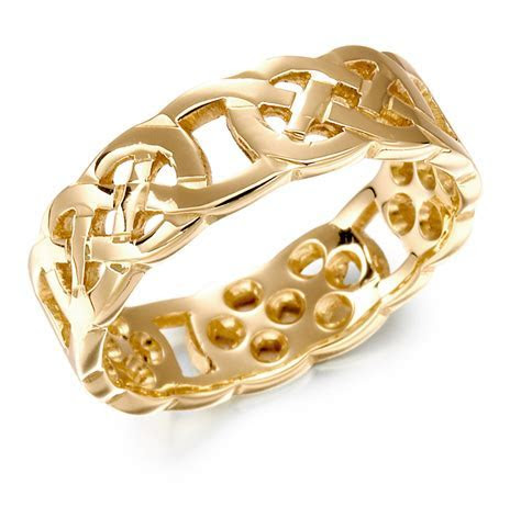 Irish Wedding Ring   Ladies Gold Celtic Knot Wedding Band