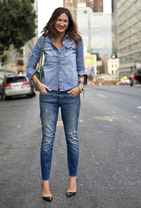 Jenna Lyons donned a head-to-toe denim look with black patent-leather pumps.Source: Phil Oh