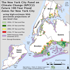 Future 100-year flood zones for New York City based on the high-estimate 90th percentile NPCC2 sea level rise scenario.