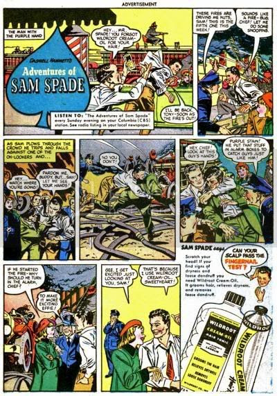 Fire Sam Spade Hair Tonic Comic Book Advertisement Wildroot Cream Oil