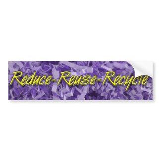 Purple Reduce-Reuse-Recycle bumpersticker