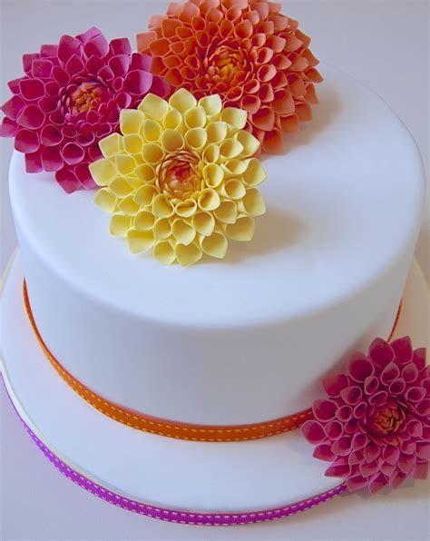 Yellow orange & pink dahlia cake!   Party Food Ideas