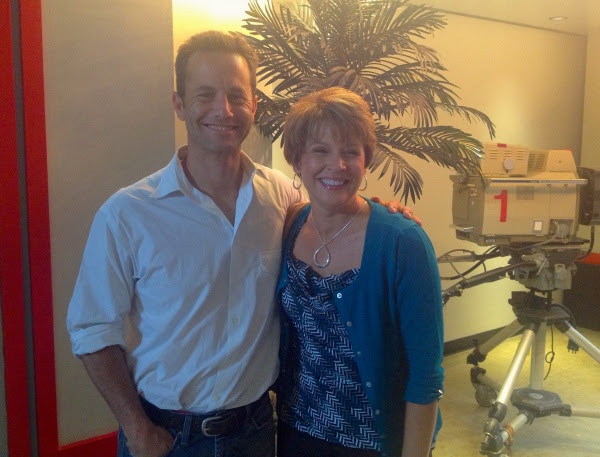 Kirk Cameron and Jennifer backstage at the studio.