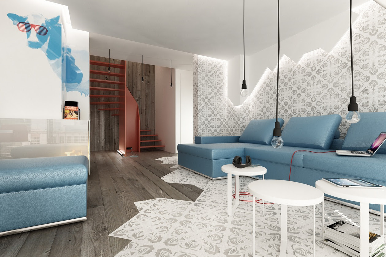 Classically Cool Living Rooms Blue Brown white modern living room ...