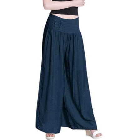 Women's Natural Waist Design Button Decor Palazzo Pants (Size M \/ 8)