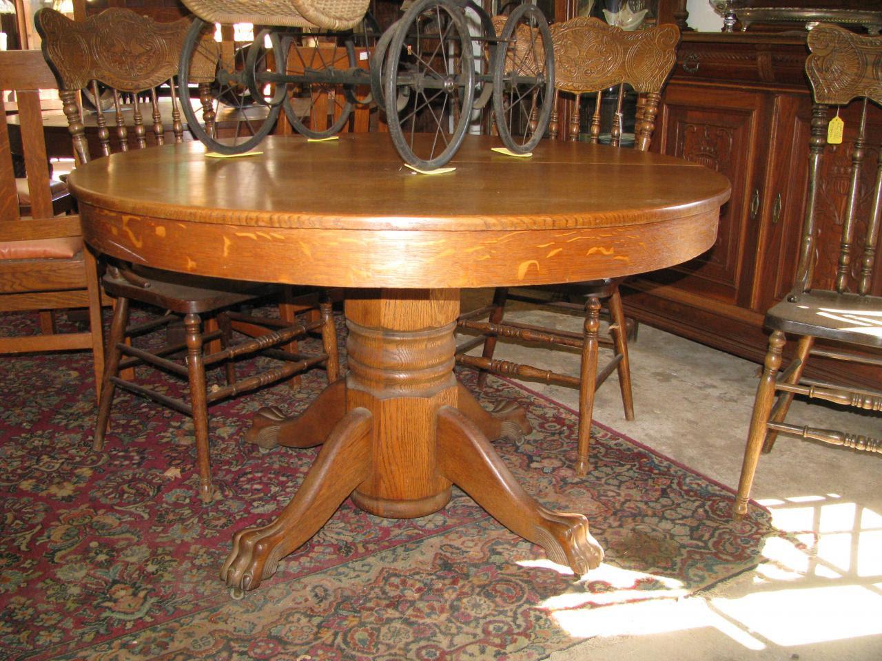Oak Claw Foot Pedestal Table
