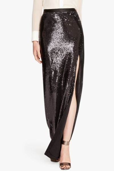 Halston Heritage Bi Colored Sequined Skirt