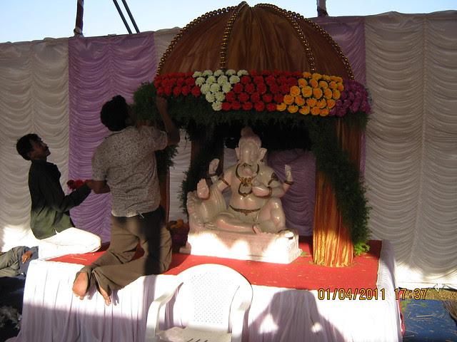 Decoration of Shri Ganpati Bappa in the pandal of Dajikaka Gadgil Developers' AnantSrishti Kanhe - Gated community of N A Bungalow Plots, Row Houses & 1 BHK 2 BHK 2.5 BHK Flats