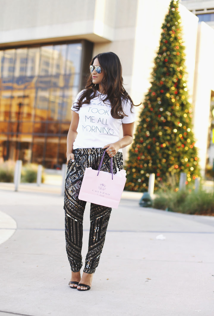 sequin embellished pants for new year's eve · haute off