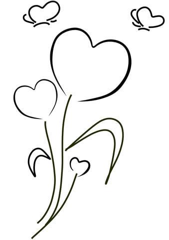 Dibujo De Corazones Y Flores Para Colorear Dibujos Para Colorear