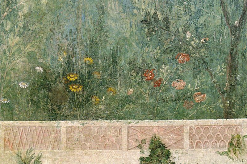 File:Villa di livia, affreschi di giardino, parete corta meridionale, fiori 01.jpg