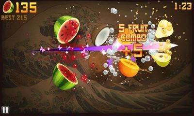 Screenshots of the Fruit Ninja for Android tablet, phone.